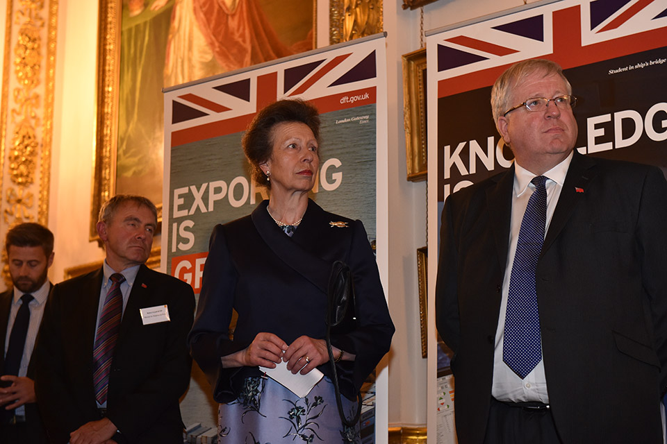 Robert Goodwill, Her Royal Highness The Princess Royal and Patrick McLoughlin at the reception.