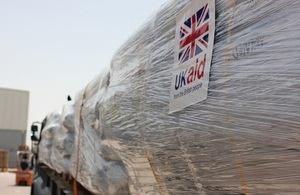 Trucks carrying aid for Syria refugees