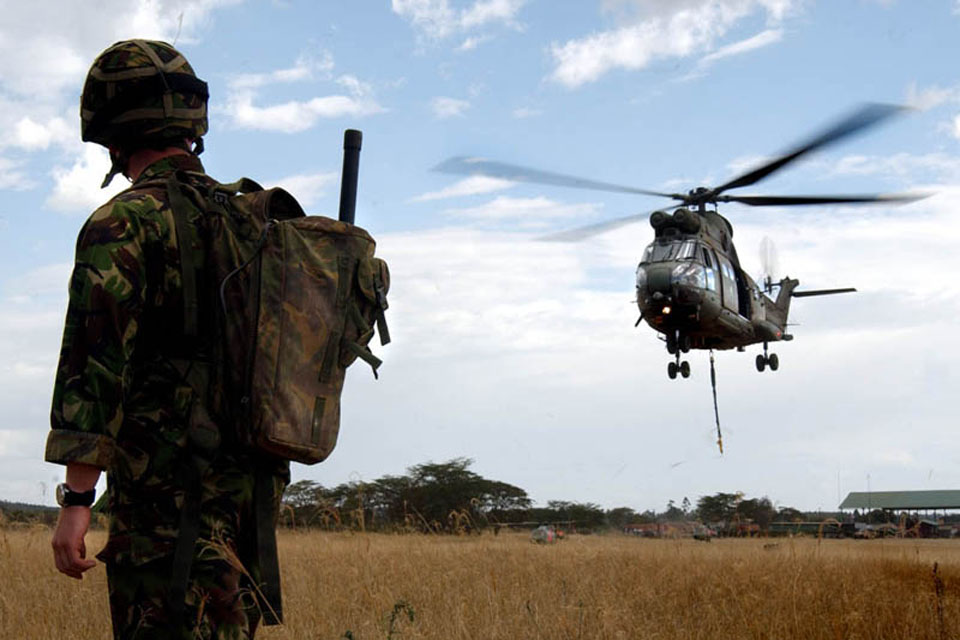 A Puma from 230 Squadron RAF provides helicopter support during the UK military training exercise Grand Prix in Kenya