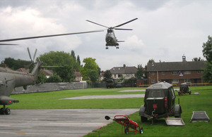 RAF Puma helicopters arrive at Ilford Territorial Army Centre, where they will be based for their role providing air security for the Olympic Games