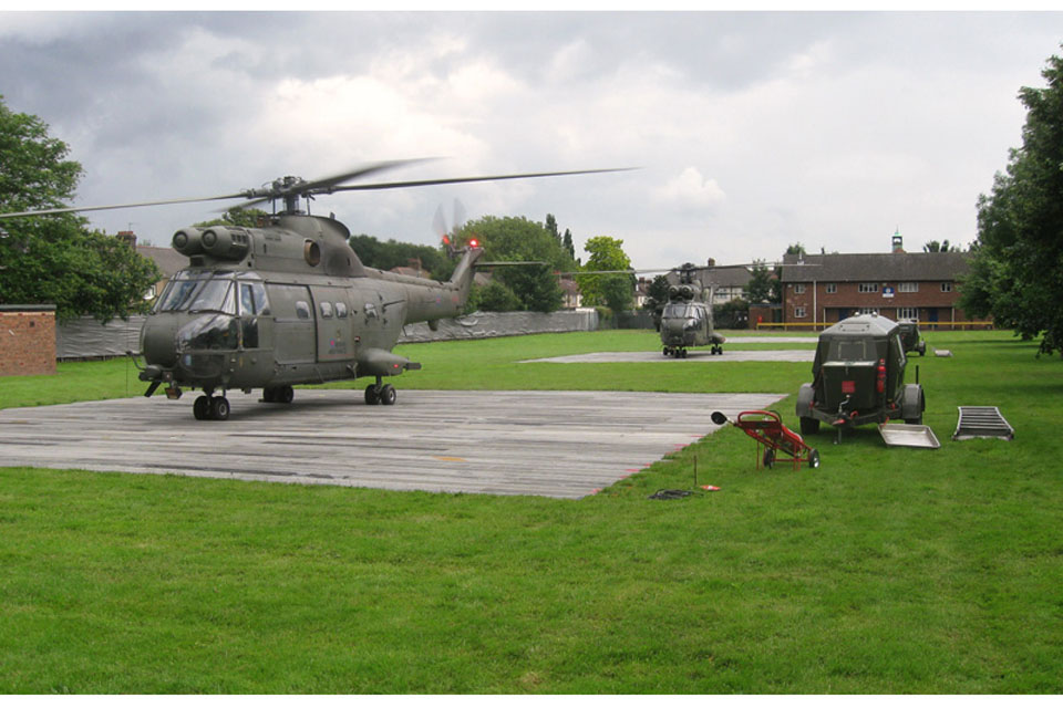 RAF Puma helicopters at Ilford Territorial Army Centre