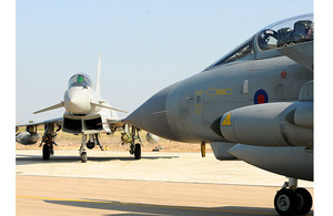 Royal Air Force Typhoon and Tornado GR4 aircraft at Gioia del Colle air base in southern Italy (stock image)