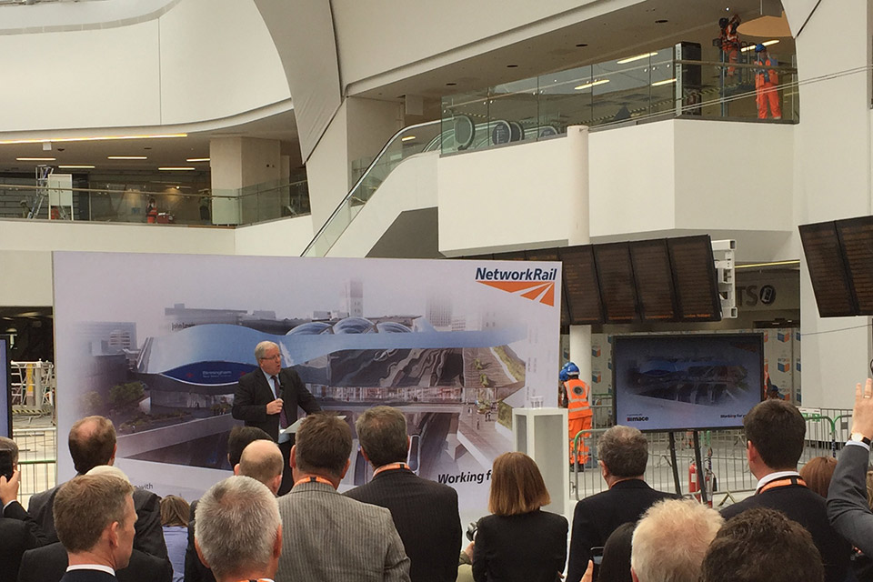 The Rt Hon Patrick McLoughlin MP speaking at Birmingham New Street station.