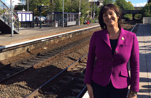 Rail Minister Claire Perry at Trowbridge station.