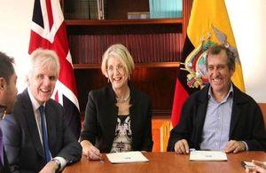 Ambassador Patrick Mullee, Jane Powell from Goldsmiths University, and Ramiro Noriega, Director of Universidad de las Artes