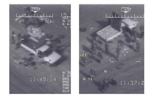 Targeting camera stills taken from the RAF Reaper mission showing the vehicles being used to transport the seized haul of weapons and drugs
