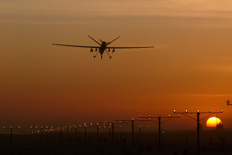 An RAF Reaper comes in to land (library image)