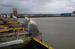 Thames Barrier with the gates closed.