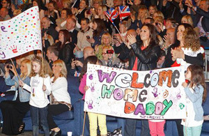 Friends and families gathered to welcome home the gunners of 2 Squadron RAF Regiment