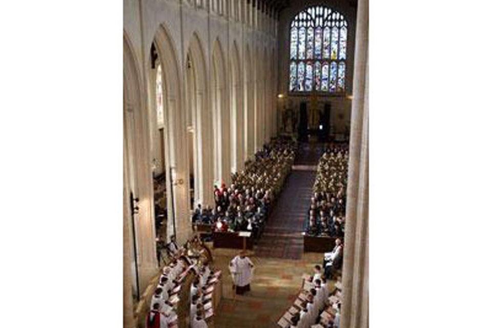 The service held in St Edmundsbury Cathedral to commemorate the 70th anniversary of the Royal Air Force Regiment