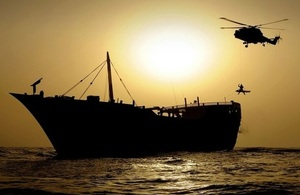 Picture of Lynx helicopter lowering man onto a vessel
