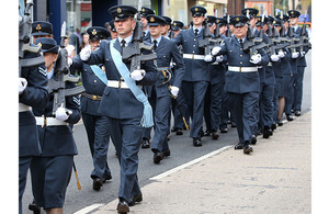 RAF reservists of 504 (County of Nottingham) Squadron march through Hucknall in Nottinghamshire