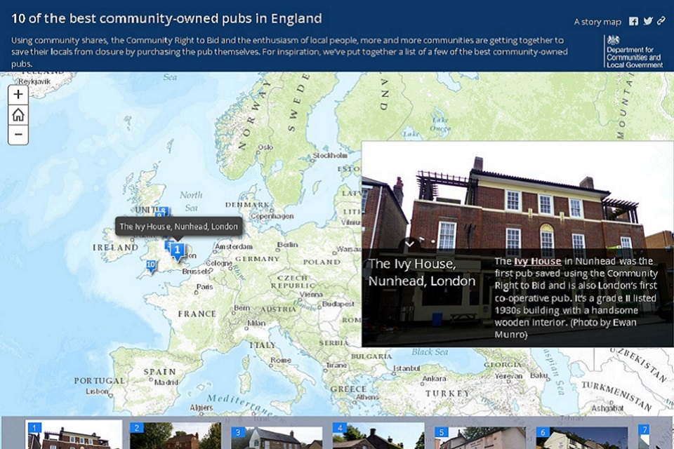 Interactive map from the how to run your community pub guide