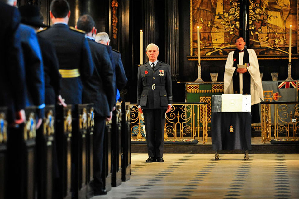 Group Captain (Retired) Richard Mighall of the Royal Auxiliary Air Force Foundation at the service of dedication at St Clement Danes