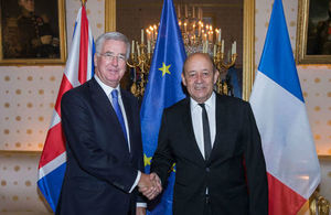 Michael Fallon with French Minister of Defence on a visit to Paris