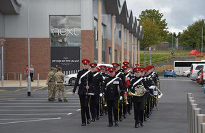 The band of the Royal Armoured Corps play at the opening of Princes Gate, Catterick Garrison's new town centre. Picture: Copyright Kier. All rights reserved.