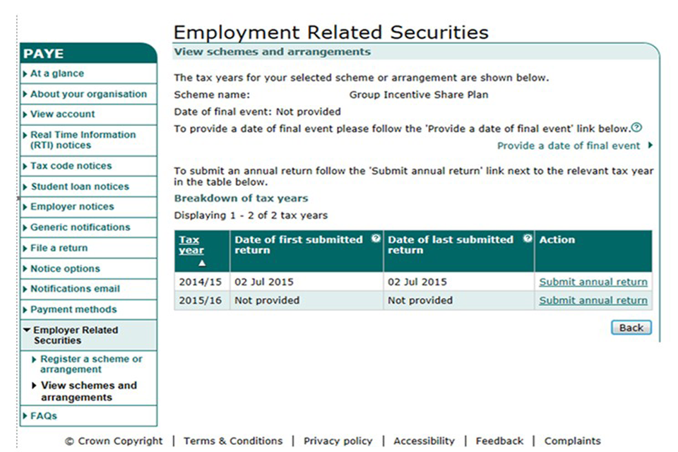 Employment Related Securities example 2