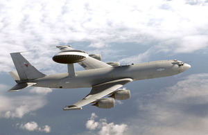 A Royal Air Force E-3D Sentry aircraft in flight (stock image)