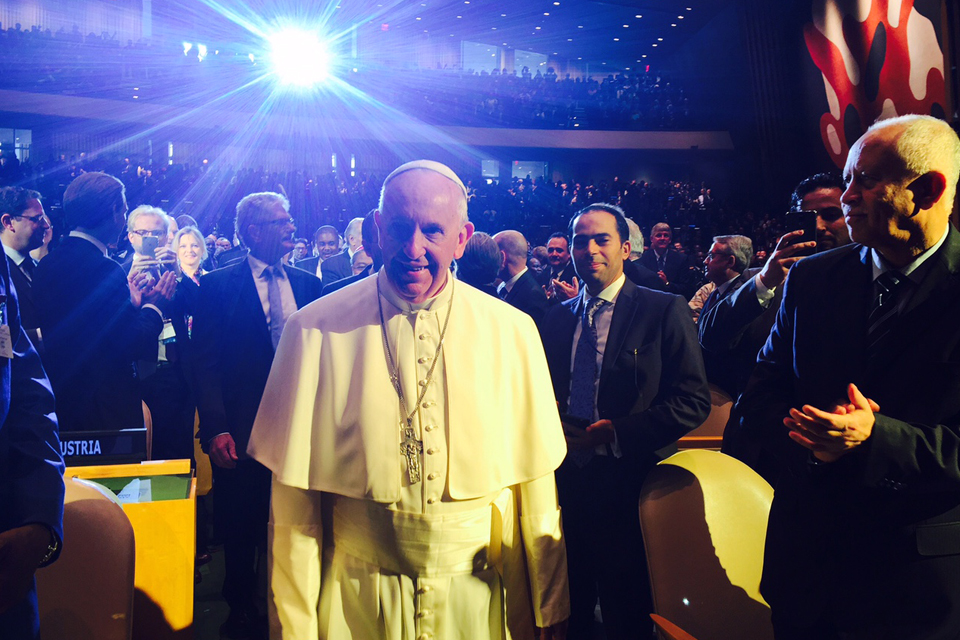 Pope Francis at the opening of the UN General Assembly. Picture: Zoe Paxton/DFID