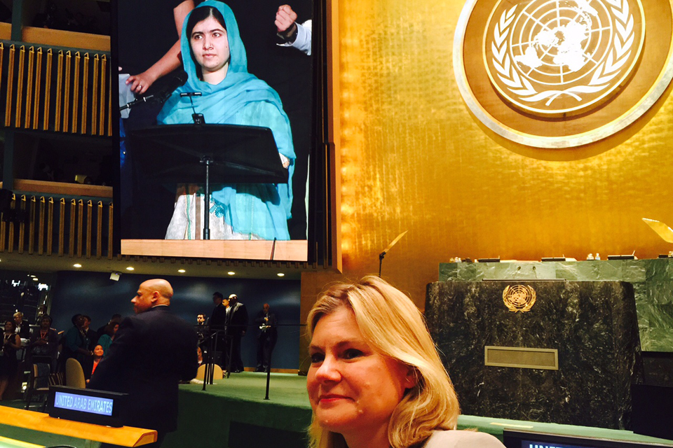 Justine Greening watches Malala addressing the UN General Assembly. Picture: Zoe Paxton/DFID