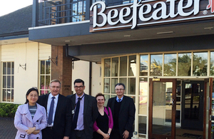 (from left to right) Yi Zhang, Brian Strutton, Harvey (Beefeater Manager), Sarah Brown, Tony Studd