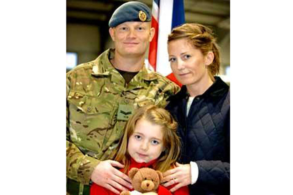 Corporal Luke James with his fiancee, Debbie Costello, and her eight-year-old daughter, Olivia