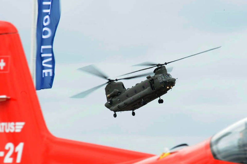 An RAF Chinook displays its load-carrying capability during a display at RIAT 2010