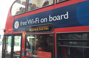 bus with free wifi sign