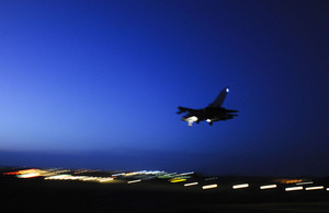 An RAF Tornado GR4 landing at Gioia del Colle air base in southern Italy (stock image)