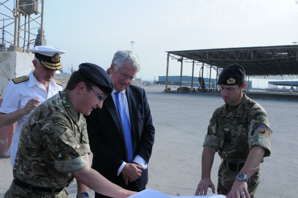 Defence Secretary Michael Fallon, Commander Jon Carrigan and Rear Admiral Simon Ancona