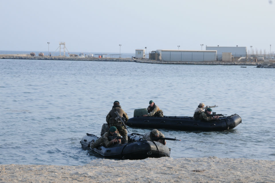Royal Marines from 45 Commando demonstrate their amphibious skills