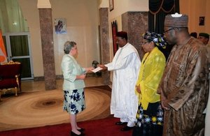 Joanne Adamson Obe presenting her credentials to President Issoufou