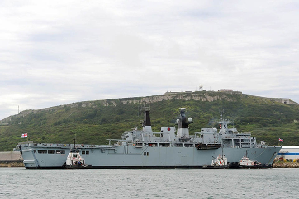 HMS Bulwark in Portland ready for the start of the Paralympic sailing events