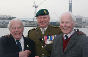 From left: Veteran Stephen Barney, Major Andy Tustin, 131 Independent Commando Squadron Royal Engineers, and veteran Bill 'Tiger' Watson