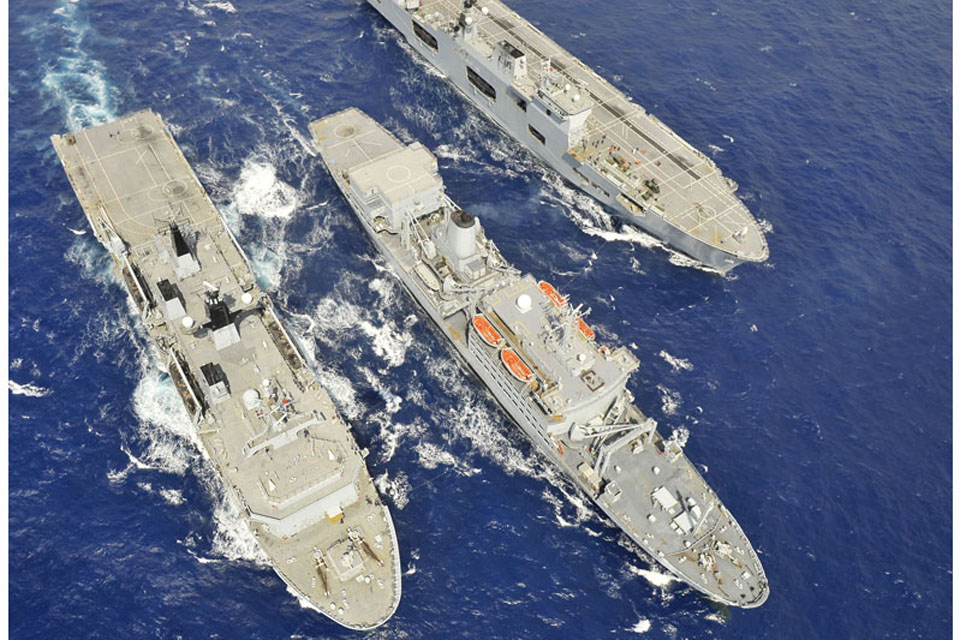 RFA Fort Rosalie (centre) during her deployment on Op ELLAMY