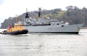 HMS Chatham enters HM Naval Base Devonport for the last time