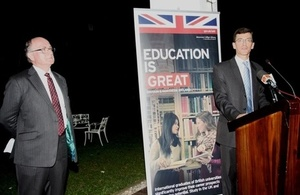 British High Commissioner H E James Dauris speaking at the event. Standing next to him, Professor Geoffrey Petts.