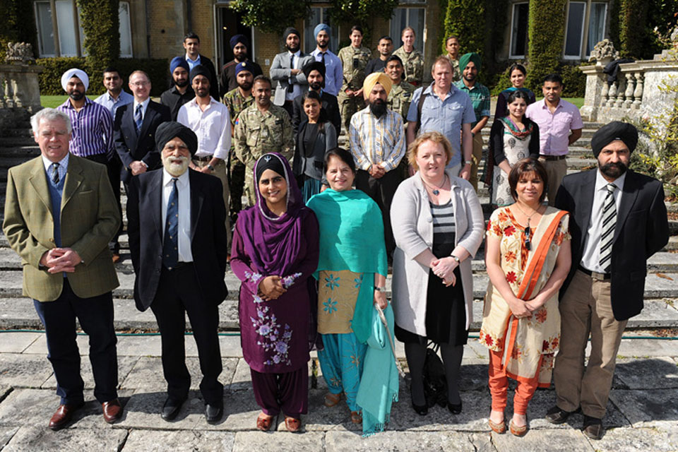 Members of the Armed Forces and the Sikh community gathered at Amport House for the sixth annual Armed Forces Sikh Conference, including (front row from left) Brigadier Mark Banham, Commander of 143 (West Midlands) Brigade, Lord Indarjit Singh, and Mandee