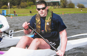 Lance Corporal Mark Harding in his kayak