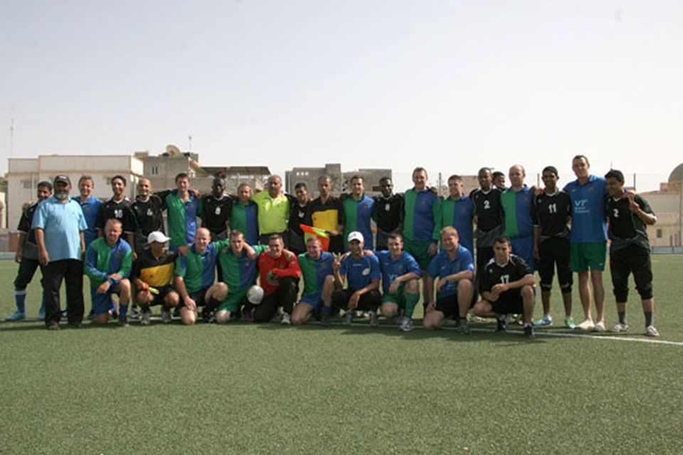 A friendly football match was held between HMS Echo's crew and a Libyan Navy Select XI