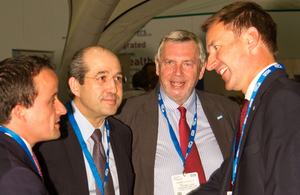 Jeremy Hunt, Secretary of State for Health and Howard Lyons, Healthcare UK welcome Eduardo Gonzales Pier, Mexico's Vice Minister of Health and Mikel Arriola, Head of COFRPRIS