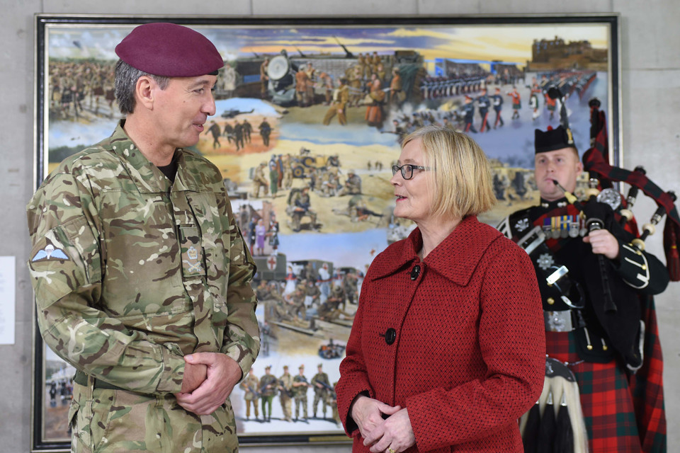 Lt Gen James Bashall CBE, Commander Personnel and Support Command, unveiled the painting with the Scottish Parliament's Presiding Officer, the Rt Hon Tricia Marwick MSP.