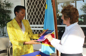 The Baroness Joyce Anelay, Prime Minister's Special Representative on Preventing Sexual Violence in Conflict, presenting the International Protocol to Jeanine Mabunda, Presidential Adviser on Sexual Violence and Child Recruitment in DRC