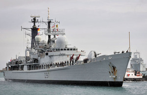 HMS Edinburgh is on her way to the South Atlantic