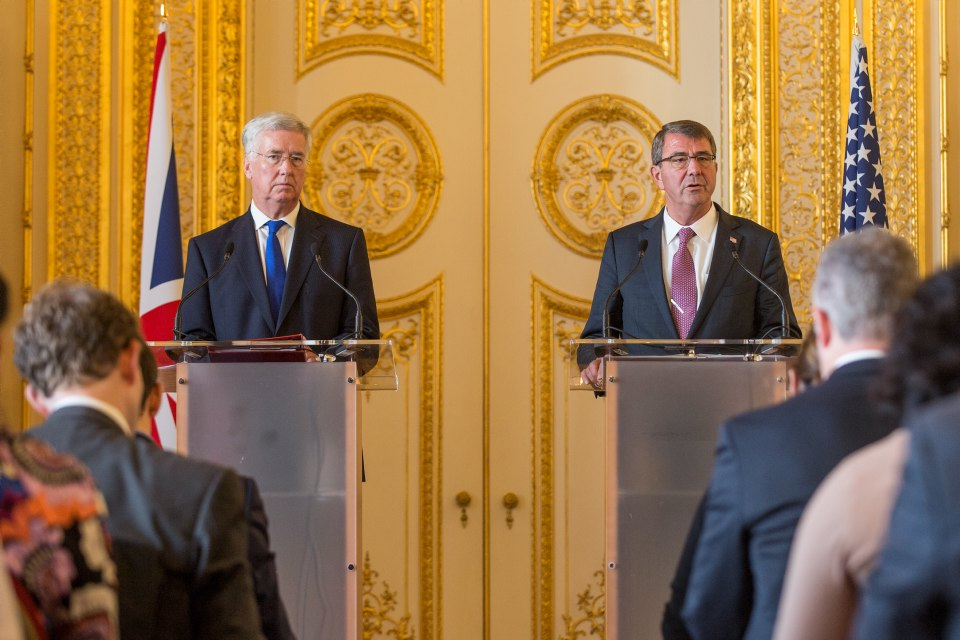 At a press conference at Lancaster House, Mr Fallon and Mr Carter spoke about the special relationship between the US and UK