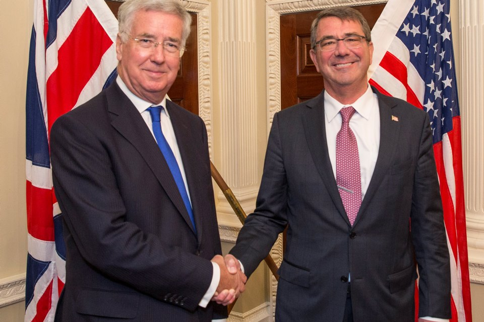 Mr Carter's UK visit comes a day after NATO Defence Ministers met in Brussels