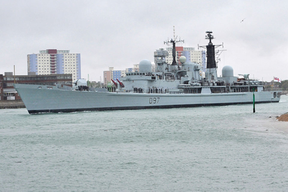 HMS Edinburgh passing the Round Tower on her departure from Portsmouth