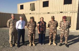 Maj Jarrard USMC, HMA, Brig Gen Sammi Kafaween (Dir Jt Ops), MINAF, Col Khaleel Dabube (Comd QRF), WO2 White (UK Loan Service/from Havant).