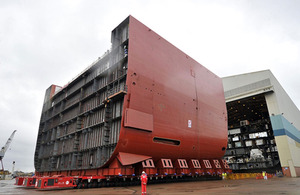 Aft-section block LB04 of future Royal Navy carrier Queen Elizabeth on the move in Govan yard