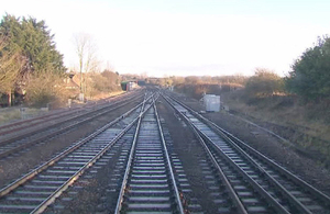 Wootton Bassett junction in 2012 - the lines shown from left to right are the Up Goods, Up Badminton, Down Badminton, Up Main and Down Main (image courtesy of Network Rail)
